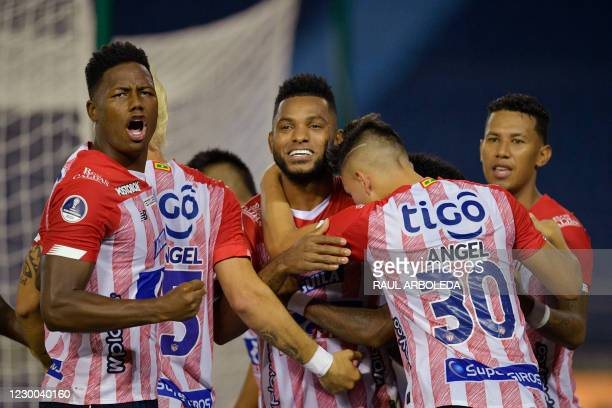 Colombia's Junior Miguel Angel Borja celebrates with teammates after scoring a penalty kick against Chile's Coquimbo during their Copa Sudamericana...
