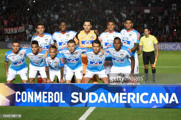 Colombia's Junior team players pose before the start of their Copa Sudamericana 2018 football match, against Argentina's Colon, at Brigadier Lopez...