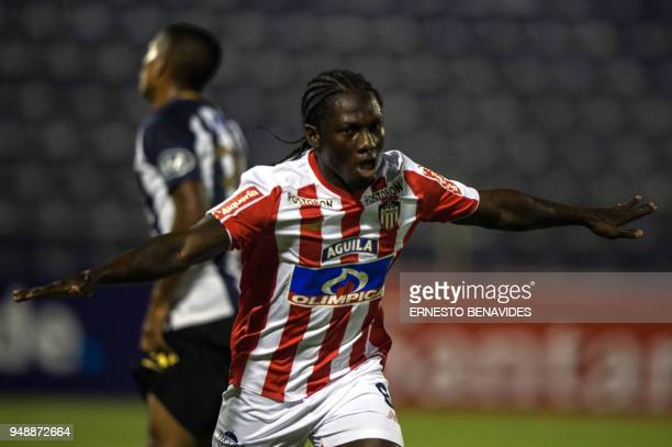 Colombia's Junior Yimmi Chara celebrates after scoring against Peru's Alianza Lima during their 2018 Copa Libertadores football match at the...