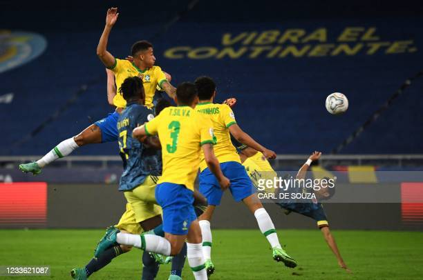 Colombia's Luis Diaz shoots to score against Brazil during the Conmebol Copa America 2021 football tournament group phase match, at the Nilton Santos...