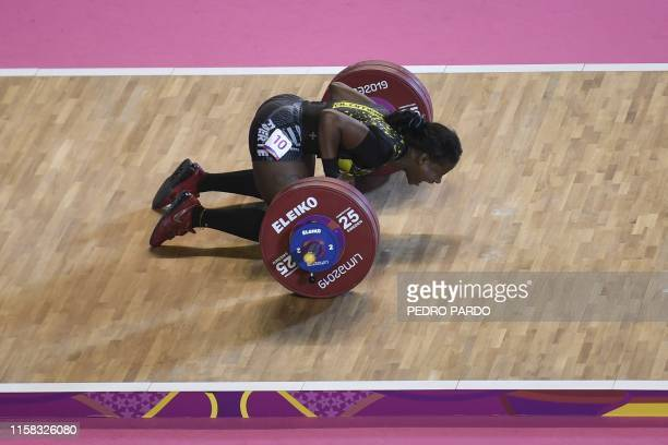 Colombia's Maria Lobon celebrates after winning the Women's 59 kg Group A category of the Weightlifting event during the Lima 2019 Pan-American...