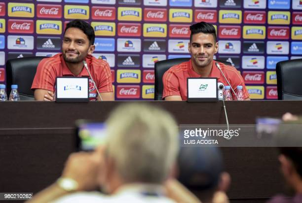 Colombia's midfielder Abel Aguilar and Colombia's forward Falcao attend a press conference at their team's base outside Kazan on June 21 during the...