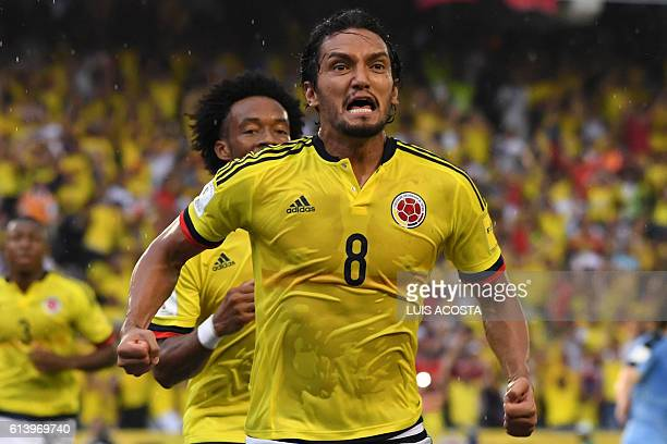 Colombia's midfielder Abel Aguilar celebrates after scoring against Uruguay during their Russia 2018 World Cup qualifier football match in...