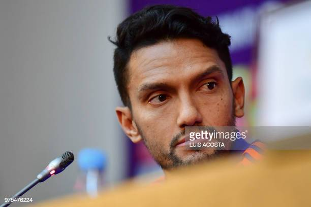 Colombia's midfielder Abel Aguilar looks on as he attends a press conference in Kazan on June 15 during the Russia 2018 World Cup football tournament