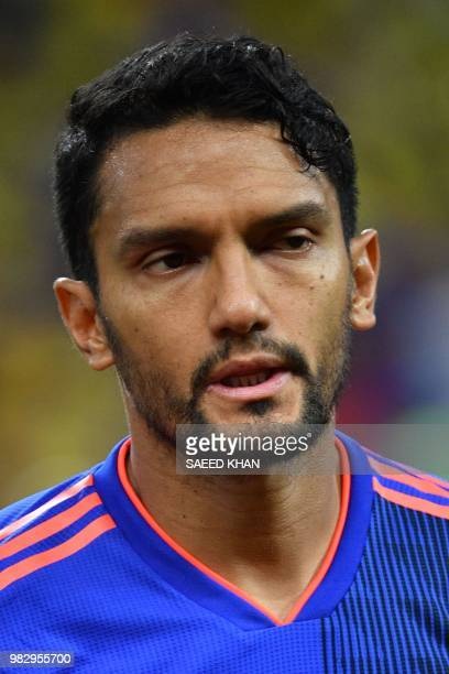 Colombia's midfielder Abel Aguilar poses before the Russia 2018 World Cup Group H football match between Poland and Colombia at the Kazan Arena in...