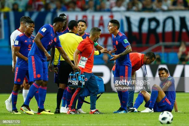Colombia's midfielder Abel Aguilar reacts during the Russia 2018 World Cup Group H football match between Poland and Colombia at the Kazan Arena in...