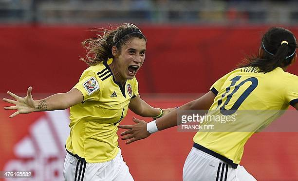 Colombia's midfielder Daniela Montoya celebrates her goal during a Group F match at the 2015 FIFA Women's World Cup between Colombia and Mexico at...
