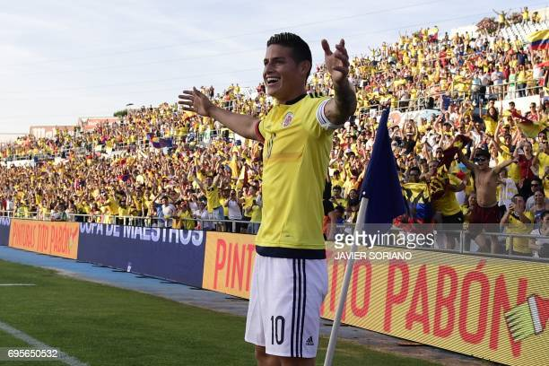 Colombia's midfielder James Rodriguez celebrates a goal during the friendly football match Cameroon vs Colombia at the Col Alfonso Perez stadium in...