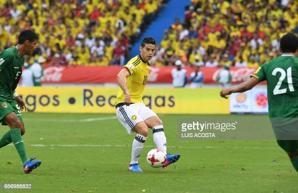 Colombia's midfielder James Rodriguez controls the ball during the 2018 FIFA World Cup qualifier football match against Bolivia in Barranquilla...