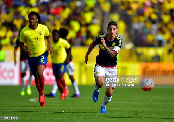 Colombia's midfielder James Rodriguez controls the ball during their 2018 FIFA World Cup qualifier football match against Ecuador in Quito on March...