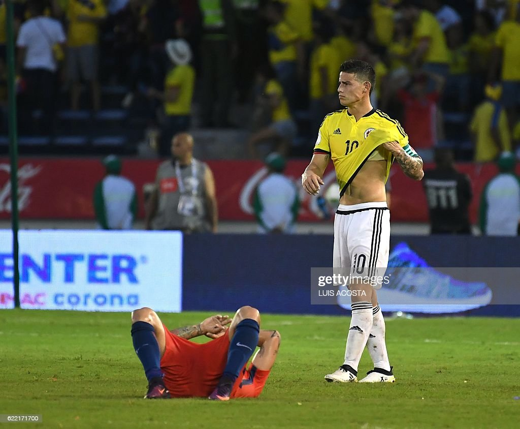 Colombia's midfielder James Rodriguez gestures at the end of their 2018 FIFA World Cup qualifiers football match against Chile in Barranquilla, Colombia, on November 10, 2016. / AFP / Luis Acosta