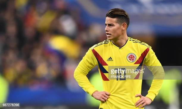 Colombia's midfielder James Rodriguez reacts during the friendly football match between France and Colombia at the Stade de France in SaintDenis on...