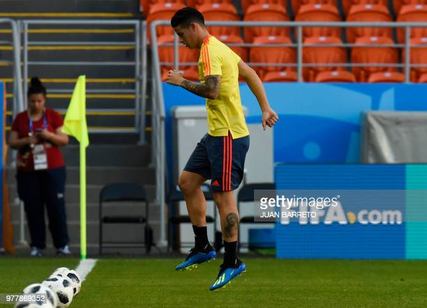 Colombia's midfielder James Rodriguez takes part in a training session on June 18 2018 at the Mordovia Arena in Saransk during the Russia 2018 World...