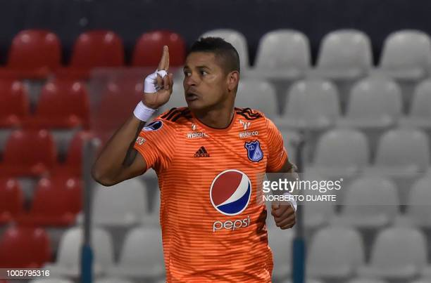 Colombia's Millonario player Ayron Del Valle celebrates after scoring against Paraguay's General Diaz during their Copa Sudamericana football match...