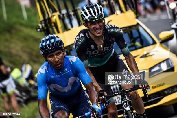 TOPSHOT Colombia's Nairo Quintana and Poland's Rafal Majka ride during a twomen breakaway in Portet pass of the 17th stage of the 105th edition of...
