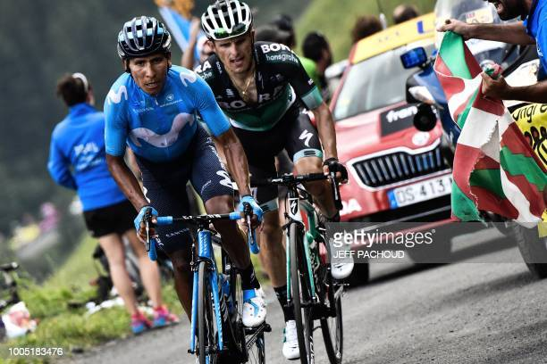 Colombia's Nairo Quintana and Poland's Rafal Majka ride during a twomen breakaway in Portet pass of the 17th stage of the 105th edition of the Tour...