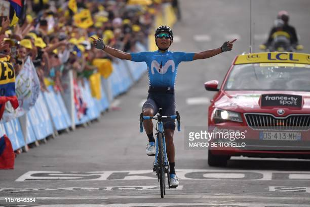 Colombia's Nairo Quintana celebrates as he wins on the finish line of the eighteenth stage of the 106th edition of the Tour de France cycling race...