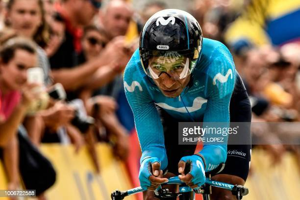 Colombia's Nairo Quintana crosses the finish line of the 20th stage of the 105th edition of the Tour de France cycling race a 31kilometer individual...