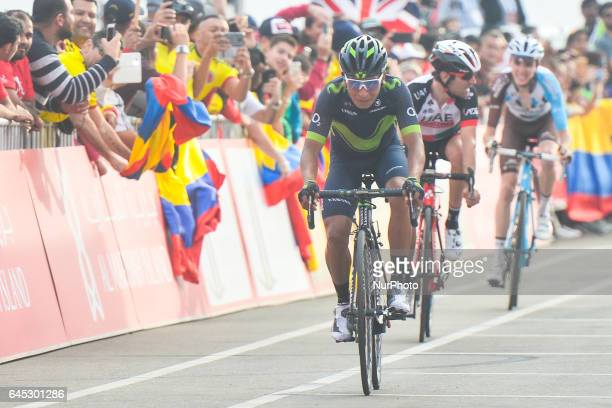 Colombia's Nairo Quintana from Team Movistar at the finish line of the third stage of Abu Dhabi Tour a 186km Al Maryah Island Stage from Al Ain to...