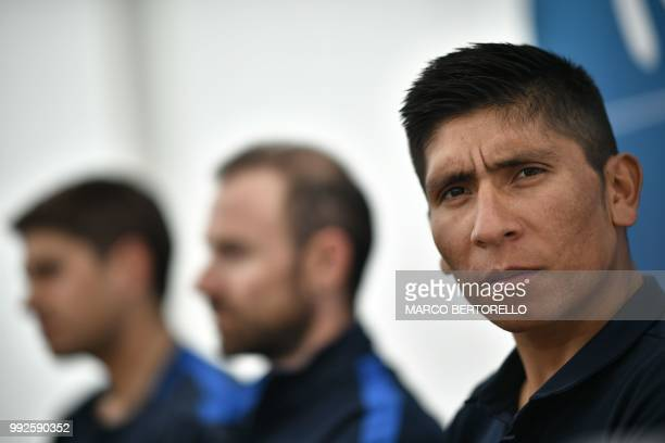 Colombia's Nairo Quintana looks on during a press conference of Spain's Movistar cycling team on July 6 2018 in Cholet western France on the eve of...
