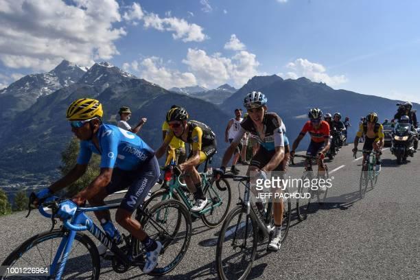 Colombia's Nairo Quintana Netherlands' Steven Kruijswijk France's Romain Bardet Italy's Vincenzo Nibali and Slovenia's Primoz Roglic ride the last...