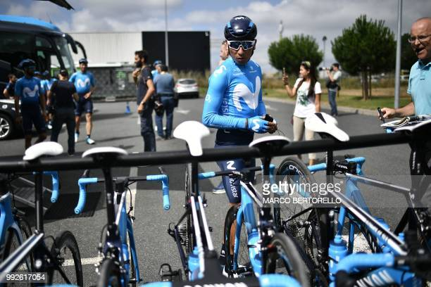 Colombia's Nairo Quintana of Spain's Movistar Team cycling team prepares to depart for a training session on July 6 2018 in Cholet western France on...