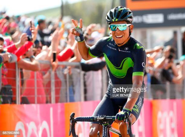 Colombia's Nairo Quintana of team Movistar celebrates as he crosses the finish line to win the 9th stage of the 100th Giro d'Italia, Tour of Italy,...