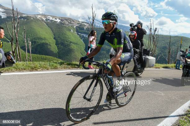 Colombia's Nairo Quintana of team Movistar climbs during the 9th stage of the 100th Giro d'Italia Tour of Italy cycling race from Montenero di...
