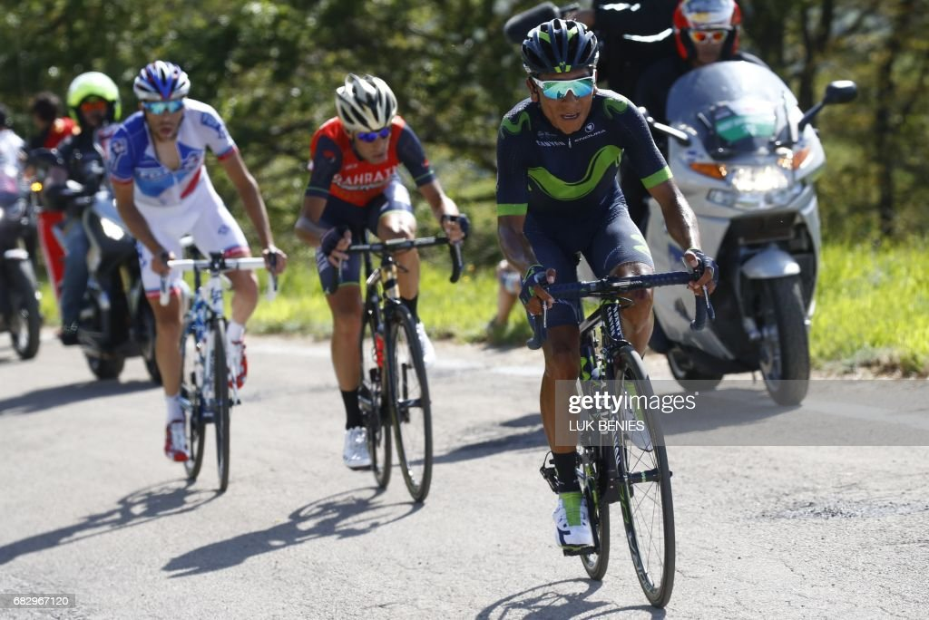 Colombia's Nairo Quintana (R) of team Movistar climbs the Blockhaus with France's Thibaut Pinot (L) of team FDJ and Italy's rider of team Bahrain - Merida Vincenzo Nibali the 9th stage of the 100th Giro d'Italia, Tour of Italy, cycling race from Montenero di Bisaccia to Blockhaus on May 14, 2017. Colombia's Nairo Quintana soared to victory on a dramatic ninth stage of the Giro d'Italia on Sunday to claim the race leader's pink jersey. Movistar's Quintana came over the finish line 23secs ahead of Frenchman Thibaut Pinot and Dutchman Tom Dumoulin, to wrest the race lead from Luxembourg's Bob Jungels. PHOTO / Luk BENIES
