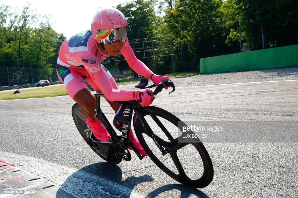 Colombia's Nairo Quintana of team Movistar competes during the Individual time-trial between Monza and Milan on the last stage of the 100th Giro d'Italia, Tour of Italy, cycling race, on May 28, 2017 in Monza. / AFP PHOTO / Luk BENIES