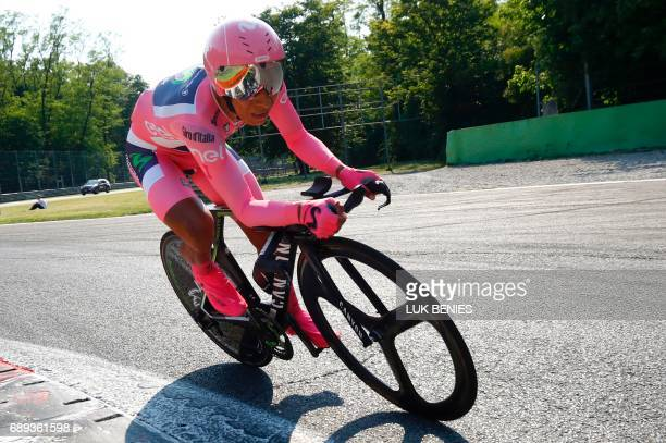 Colombia's Nairo Quintana of team Movistar competes during the Individual timetrial between Monza and Milan on the last stage of the 100th Giro...