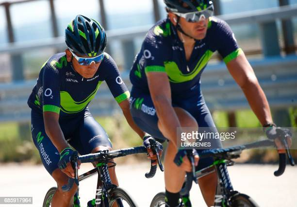 Colombia's Nairo Quintana of team Movistar rides during the 14th stage of the 100th Giro d'Italia Tour of Italy cycling race from Castellania to...