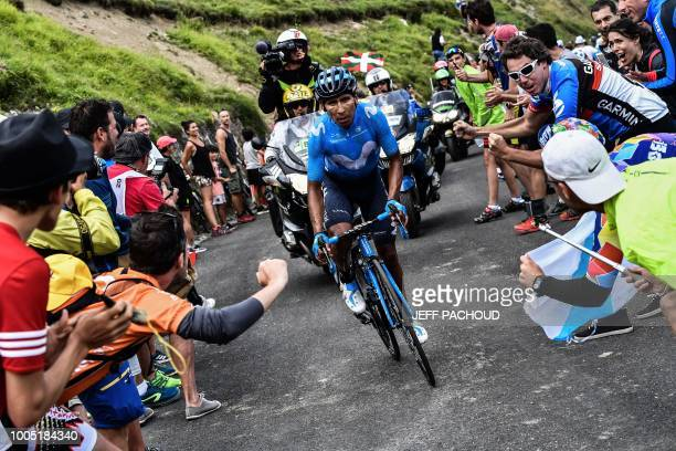 TOPSHOT Colombia's Nairo Quintana rides during a oneman breakaway in the Portet pass of the 17th stage of the 105th edition of the Tour de France...