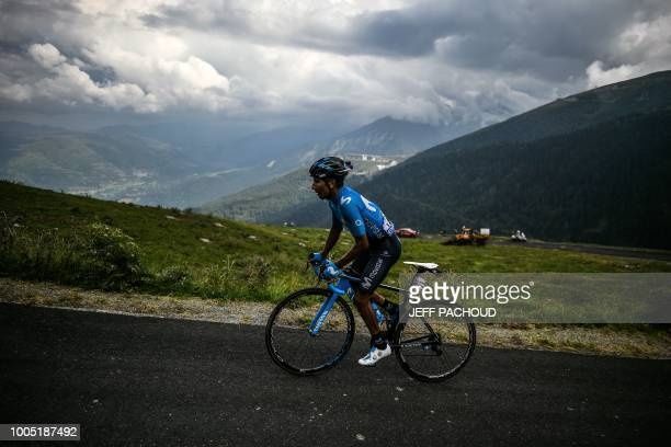 Colombia's Nairo Quintana rides during a one-man breakaway in the Portet pass of the 17th stage of the 105th edition of the Tour de France cycling...