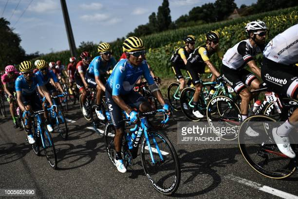 Colombia's Nairo Quintana rides during the 18th stage of the 105th edition of the Tour de France cycling race on July 26 2018 between TriesurBaise...