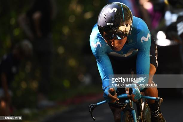 Colombia's Nairo Quintana rides during the thirteenth stage of the 106th edition of the Tour de France cycling race, a 27,2-kilometer individual...