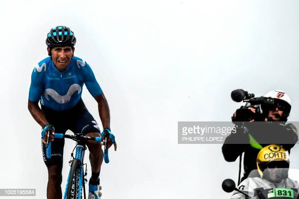 Colombia's Nairo Quintana rides in the last meters to cross the finish line to win the 17th stage of the 105th edition of the Tour de France cycling...