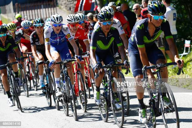 Colombia's Nairo Quintana rides in the peloton during the 15th stage of the 100th Giro d'Italia Tour of Italy cycling race from Valdengo to Bergamo...