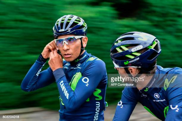 Colombia's Nairo Quintana takes part in a training session of the Spain's Movistar cycling team in Dusseldorf Germany on June 29 two days before the...