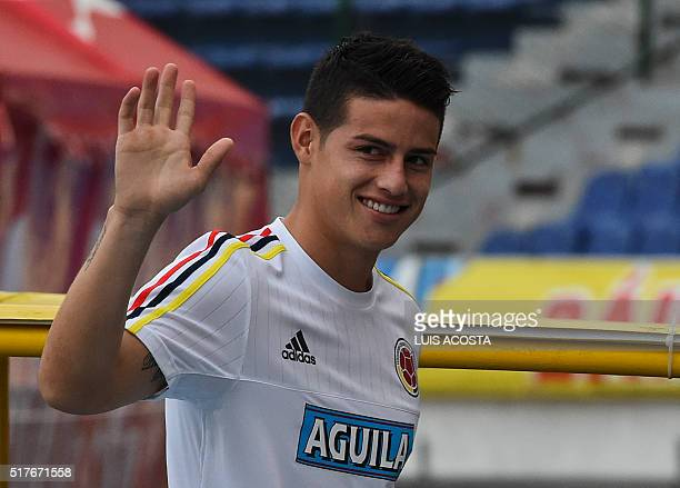 Colombia's national football team player James Rodriguez smiles during a training session at the Metropolitano Stadium in Barranquilla on March 26...