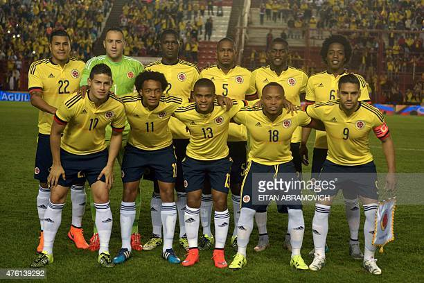 Colombia's national football team players pose before their friendly football match against Costa Rica in preparation for the Copa America 2015 at...