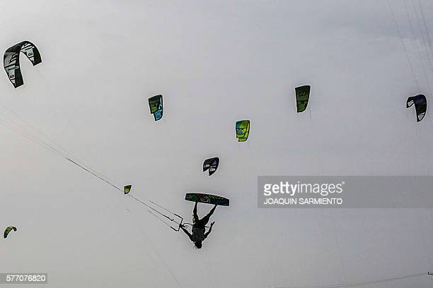 Colombia's Orlando Sierra competes in the Free Style Kitesurfing competition of the Third Kite Addict Colombia tournament in Cabo de la Vela Guajira...