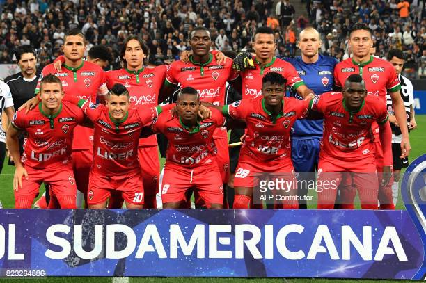 Colombia's Patriotas team players pose before their 2017 Copa Sudamericana football match against Brazils Corinthians held at Arena Corinthians...