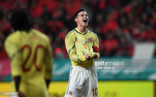 TOPSHOT Colombia's player James Rodriguez reacts during the friendly football match against South Korea in Seoul on March 26 2019