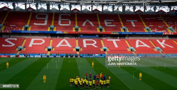 Colombia's players gather on the pitch during a training session at the Spartak Stadium in Moscow on July 2, 2018 on the eve of the Russia 2018 World...