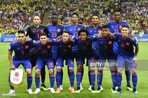 Colombia's players goalkeeper David Ospina defender Davinson Sanchez defender Johan Mojica midfielder Abel Aguilar defender Yerry Mina forward Falcao...