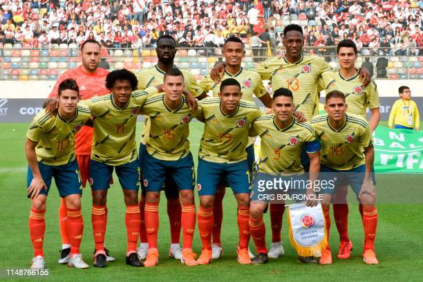 Colombia's players pose before a friendly football match between Peru and Colombia at the Monumental Stadium in Lima, on June 9 ahead of Brazil 2019...