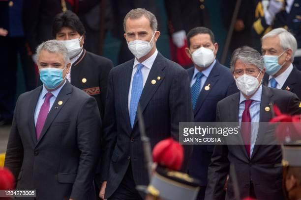 Colombia's President Ivan Duque, Bolivia's former President Evo Morales, King of Spain Felipe VI, Brazil's Vice-President Hamilton Mourao, Ecuador's...