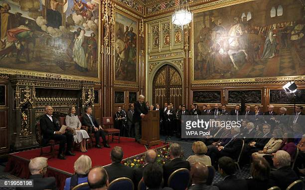 Colombia's President Juan Manuel Santos and Colombia's First Lady Maria Clemencia Rodriguez listen as the Speaker of the House of Commons John Bercow...