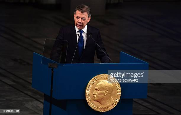 Colombia's President Juan Manuel Santos gives his acceptance speech during the award ceremony of the Nobel Peace Prize on December 10, 2016 in Oslo,...